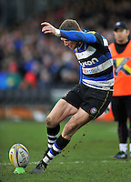 Rhys Priestland of Bath Rugby kicks for the posts. Aviva Premiership match, between Bath Rugby and Wasps on February 20, 2016 at the Recreation Ground in Bath, England. Photo by: Patrick Khachfe / Onside Images