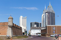 Modern skyscrapers dominate the downtown skyline, with Fort Conde on the left, in Mobile, Alabama.