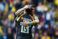 Rob Miller of Wasps is congratulated on his first try of the match. Aviva Premiership match, between Wasps and Northampton Saints on April 3, 2016 at the Ricoh Arena in Coventry, England. Photo by: Patrick Khachfe / JMP