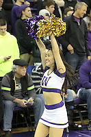 Dec 28, 2014:  Washington cheerleader Miki Saito entertained fans during the game against Stony Brook.  Stony Brook defeated Washington 62-57 at Alaska Airlines Arena in Seattle, WA.