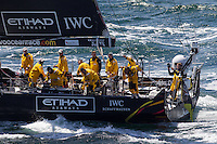 FRANCE, Lorient. 1st July 2012. Volvo Ocean Race, Start Leg 9 Lorient-Galway. Knut Frostad, CEO Volvo Ocean Race prepares to jump from Abu Dhabi Ocean Racing.