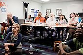 PHOENIX, ARIZONA, USA, 19/10/2016:<br /> People watching third debate between Hillary Clinton and Donald Trump at the democratic party headquarters.<br /> Arizona, traditionally very republican state, has become a swing state with both main candidates equally scoring in polls. (Photo by Piotr Malecki / Napo Images)