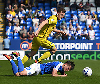 Peterborough United's Tom Nichols is brought down tackling Bristol Rovers' Tom Lockyer<br /> <br /> Peterborough 4 - 2 Bristol Rovers<br /> <br /> Photographer David Horton/CameraSport<br /> <br /> The EFL Sky Bet League One - Peterborough v Bristol Rovers - Saturday 22nd April 2017 - ABAX Stadium - Peterborough <br /> <br /> World Copyright &copy; 2017 CameraSport. All rights reserved. 43 Linden Ave. Countesthorpe. Leicester. England. LE8 5PG - Tel: +44 (0) 116 277 4147 - admin@camerasport.com - www.camerasport.com