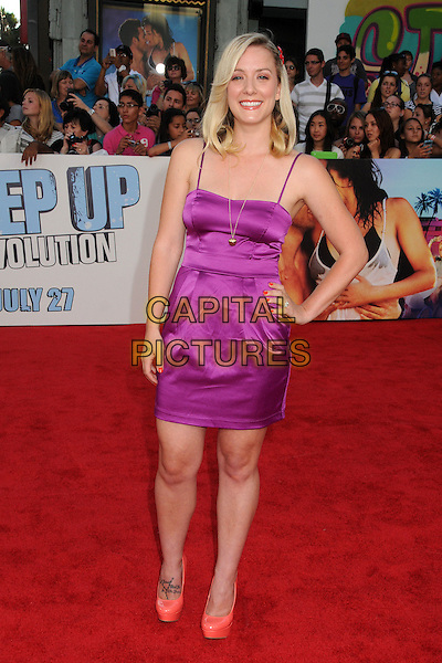 """Kristen Quintrall.""""Step Up Revolution"""" Los Angeles Premiere held at Grauman's Chinese Theatre, Hollywood, California, USA..July 17th, 2012.full length purple silk satin dress and on hip orange shoes .CAP/ADM/BP.©Byron Purvis/AdMedia/Capital Pictures."""