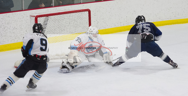 Eagle River's Ben Rinckey is stopped by Chugiak goalie Jack Walters in the final moments of the Mustang's 5-2 win at the McDonald Center Saturday, January 28, 2017. Photo for the Star by Michael Dinneen