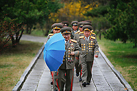 Military officers visit the birthplace of North Korean founder Kim Il Sung, a day before the 105th anniversary of his birth, in Mangyongdae just outside Pyongyang, North Korea April 14, 2017.    REUTERS/Damir Sagolj