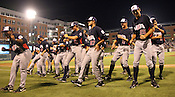 "Team USA players do the ""Cupid's Shuffle"" after winning Game 3 of the annual Collegiate Friendship Series between Team USA and Japan on Tuesday, July 5, 2011. Photo by Al Drago."