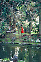 A woman in a red coat walking through the gardens of Nitobe Memorial Garden, on the campus of UBC, Vancouver, BC.