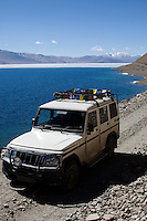 The road from Leh to Tso Moriri is accompanied for most of the journey by the Indus River, until after Mahe, which then turns into sandy plains of the wild life reserve area where Tso Moriri is. The lake is surrounded by the elevated valley of Rupshu with hills rising to 6,000m, and on its western bank sits the village of Korzok, established over 300 years ago..Tso Moriri is a High Altitude Lake (HAL) with an altitude of 4,595m and is the largest of the High Altitude Lakes in the Trans-Himalayan biogeographic region, entirely within India..*Pre-season Jeep road trip from Delhi to Amritsar, Srinagar, Kargil, Lamayuru, Leh, Khardung La, Tso Moriri and back to Delhi in May 2010. Photo by Suzanne Lee