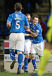 St Johnstone v St Mirren.....11.01.14   SPFL<br /> Stevie May celebrates his goal with Steven Anderson<br /> Picture by Graeme Hart.<br /> Copyright Perthshire Picture Agency<br /> Tel: 01738 623350  Mobile: 07990 594431