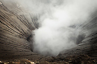 Smoking crater of Mount Bromo, Mt Bromo, Tengger massif, East Java, Indonesia, Southeast Asia