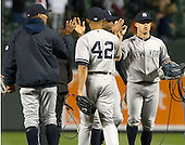 New York Yankees celebrate their extra-inning 6 - 4 victory over the Baltimore Orioles at Oriole Park at Camden Yards in Baltimore, MD on Thursday, April 11, 2012.  .Credit: Ron Sachs / CNP.(RESTRICTION: NO New York or New Jersey Newspapers or newspapers within a 75 mile radius of New York City)