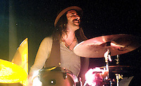 Matt Burr, drummer for the band Blues and Lasers plays at Club Metronome in Burlington, Vermont.