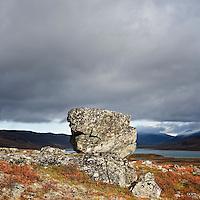Rock in rugged arctic landscape, Lapland, Sweden