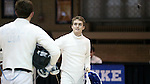 11 February 2017: Duke's Aidan McGinnis (right) and Boston College's MacGregor Mooney (left) after their Epee match. The Duke University Blue Devils hosted the Boston College Eagles at Card Gym in Durham, North Carolina in a 2017 College Men's Fencing match. Duke won the dual match 18-9 overall, 9-0 Foil, and 6-3 Saber. Boston College won Epee 6-3.