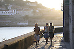 People walking in the Ribeira neighbourhood besides the River Douro, Porto - Oporto, Douro Litoral, Portugal