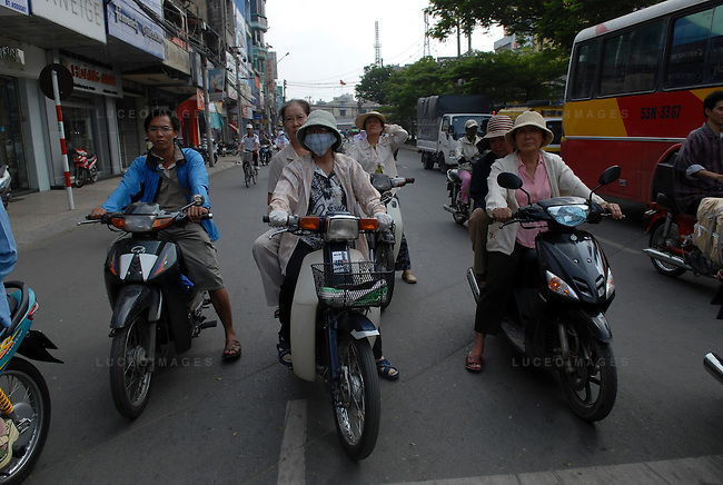 Motor bike traffic in Ho Chi Minh City, Vietnam.