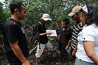 Bapak Juanda Datundugon with members of the village mangrove working group in a mangrove area discussing land use using a map, Dudepo, Bolmong Selatan, Sulawesi, Indonesia.