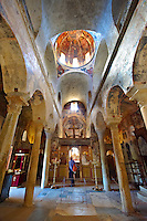 The interior of the Byzantine Metropolis Church , Mystras ,  Sparta, the Peloponnese, Greece. A UNESCO World Heritage Site