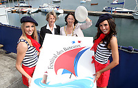 ****NO FEE PIC****.(L to r).French Mademoiselle Suzanne McCabe .Her Excellency Emmanuelle D'Achon French Ambassador to Ireland.An Cathaoirleach of DLR, Cllr. Lettie McCarthy.French Mademoiselle Sinead Noonan .at the National Yacht Club Dun Laoghaire to launch Festival Des Bateaux which takes place between August 11th and 14th 2011 .Dun Laoghaire will be the only international stop on the world famous French Solitaire du Figaro yacht race.  To celebrate the stopover of this iconic 3,390 km race, Dun Laoghaire Rathdown County Council, the Dun Laoghaire Harbour Company and the National Yacht Club have joined forces to create Festival des Bateaux.  The harbour will be a magnificent tapestry of colour as the boats arrive for this international event.  Dun Laoghaire will be resplendent with fireworks, music and the sights, sounds, foods, and 'joie de vivre' of France..Photo: Gareth Chaney Collins