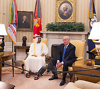 United States President Donald J. Trump poses for photographs with Crown Prince Muhammad bin Zayid Al Nuhayyan of Abu Dhabi in the Oval Office of the White House in Washington, DC, May 15, 2017. <br /> Credit: Chris Kleponis / Pool via CNP /MediaPunch