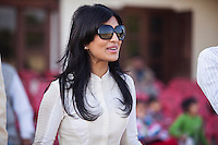 OzFest ambassador Pallavi Sharda cheers for the Australian team as she joins other spectators to watch the game between the Royal Jaipur Polo Team and the Western Australia Polo Team for the Argyle Pink Diamond Cup, organised as part of the 2013 Oz Fest in the Rajasthan Polo Club grounds in Jaipur, Rajasthan, India on 10th January 2013. Photo by Suzanne Lee