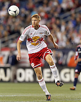 New York Red Bulls defender Markus Holgersson (5) traps the ball. Despite a red-card man advantage, in a Major League Soccer (MLS) match, the New England Revolution tied New York Red Bulls, 1-1, at Gillette Stadium on September 22, 2012.