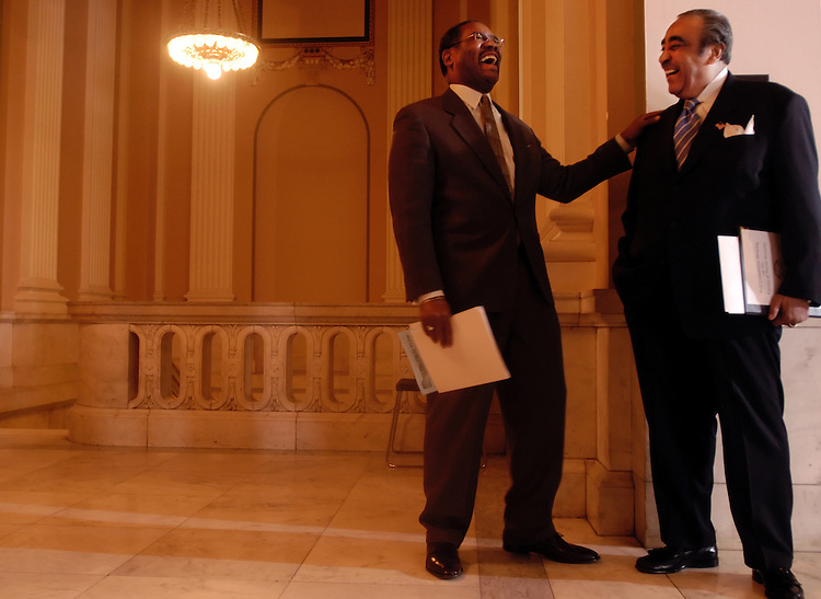 Rep. Greg Meeks, D-NY, and Rep. Charlie Rangel, D-NY, before a press conference after the House Democratic House meeting..