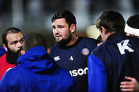Elliott Stooke of Bath Rugby speaks to his team-mates during the pre-match warm-up. Aviva Premiership match, between Bath Rugby and Northampton Saints on February 10, 2017 at the Recreation Ground in Bath, England. Photo by: Patrick Khachfe / Onside Images