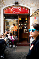 Caffe Farnese, a popular cafe in Piazza Farnese in the centre of Rome, Italy