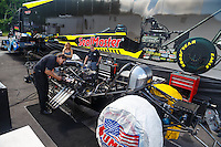 Jun 6, 2016; Epping , NH, USA; A crew member works on the NHRA funny car of driver Jeff Diehl during the New England Nationals at New England Dragway. Mandatory Credit: Mark J. Rebilas-USA TODAY Sports