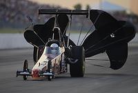 May 18, 2012; Topeka, KS, USA: NHRA top alcohol dragster driver Chase Copeland during qualifying for the Summer Nationals at Heartland Park Topeka. Mandatory Credit: Mark J. Rebilas-