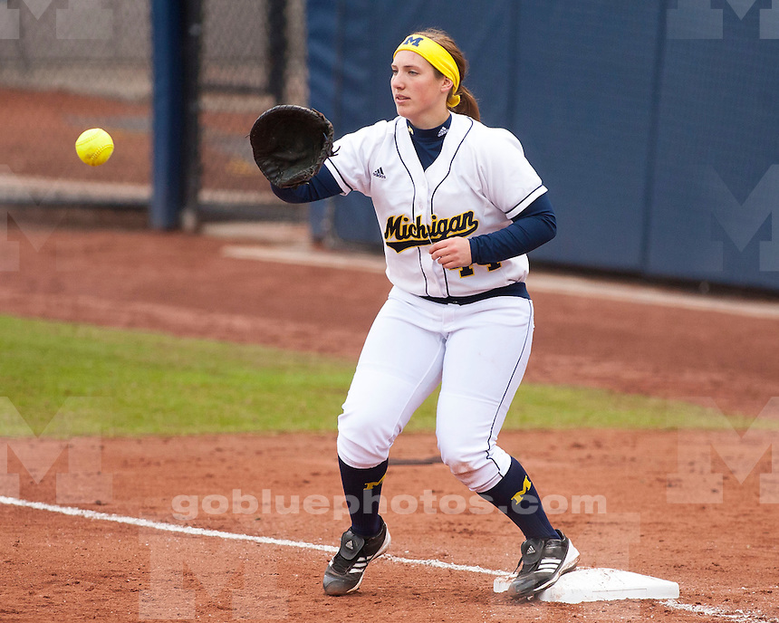 The University of Michigan softball team beat Michigan State, 21-2, at Wilpon Complex in Ann Arbor, Mich., on April 12, 2013.