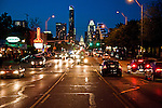 The Austin skyline at night, seen looking down South Congress Avenue, Austin Texas, April 8, 2010.