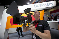 Photokina in Cologne ist the World's biggest bi-annual photo fair..Canon stand. Cinema EOS system. A fully rigged Cinema EOS.