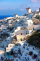Oia ( Ia ) Santorini - Windmills and view of town , Greek Cyclades islands - Photos, pictures and images