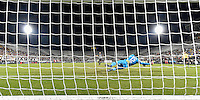 Orlando, FL - Saturday Jan. 21, 2017: São Paulo goalkeeper Sidão (12) makes a save during the penalty shootout of the Florida Cup Championship match between São Paulo and Corinthians at Bright House Networks Stadium. The game ended 0-0 in regulation with São Paulo defeating Corinthians 4-3 on penalty kicks