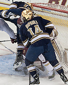 David Gerths (ND - 10), Thatcher Demko (BC - 30), Thomas DiPauli (ND - 14) - The visiting University of Notre Dame Fighting Irish defeated the Boston College Eagles 7-2 on Friday, March 14, 2014, in the first game of their Hockey East quarterfinals matchup at Kelley Rink in Conte Forum in Chestnut Hill, Massachusetts.