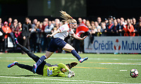 20170514 - LILLE , FRANCE : LOSC's Jana Coryn pictured going past the keeper and scoring her third goal during the 21 st competition game between the women teams of Lille OSC and La Roche Sur Yon in the 2016-2017 season of the Second Division A D2F A at stade Lille Metropole , Saturday 14th May 2017 ,  PHOTO Joke Vuylsteke | Sportpix.Be