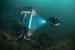 Technical Divers exploring Tidenham Quarry, Nationl Diving and Activity Centre, UK