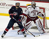 Brady Tkachuk (NTDP - 7), Merrick Madsen (Harvard - 31) - The Harvard University Crimson defeated the US National Team Development Program's Under-18 team 5-2 on Saturday, October 8, 2016, at the Bright-Landry Hockey Center in Boston, Massachusetts.