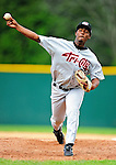 25 July 2010: Tri-City ValleyCats pitcher Joan Belliard on the mound during a game against the Vermont Lake Monsters at Centennial Field in Burlington, Vermont. The ValleyCats came from behind to defeat the Lake Monsters 10-8 in NY Penn League action. Mandatory Credit: Ed Wolfstein Photo