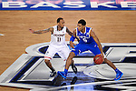 07 APR 2014: Ryan Boatright (11) of the University of Connecticut defends Andrew Harrison (5) of the University of Kentucky during the 2014 NCAA Men's DI Basketball Final Four Championship at AT&T Stadium in Arlington, TX.  Connecticut defeated Kentucky 60-54 to win the national title. Brett Wilhelm/NCAA Photos