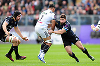 Nathan Charles of Bath Rugby tackles Poutasi Luafutu of Brive. European Rugby Challenge Cup Quarter Final, between Bath Rugby and CA Brive on April 1, 2017 at the Recreation Ground in Bath, England. Photo by: Patrick Khachfe / Onside Images