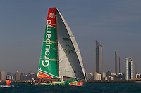 UAE. 4th January 2012. Volvo Ocean Race, Leg 2, arrival into Abu Dhabi. Groupama Sailing Team.