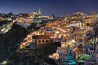 Fira by night in Santorini island, Greece