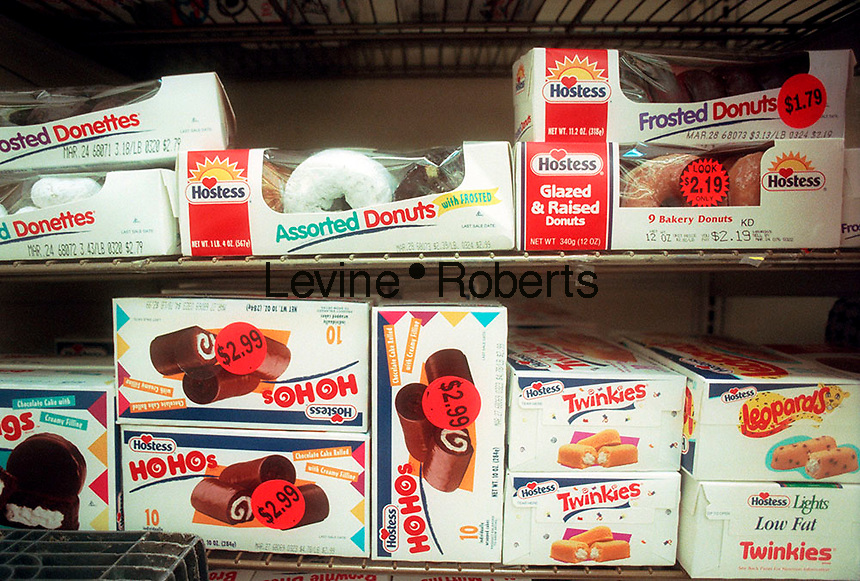 A collection of tasty baked goods by Hostess including the famous Twinkies is seen on a supermarket shelf in this file photo. Interstate Bakeries, the maker of Twinkies as well as Wonder Bread and Drake's Cakes products, filed for bankruptcy on September 21, 2004 citing it's slowness to adapt to the Atkins craze and other trends in the bread business. Interstate is one of the world's largest manufacturers of baked goods with 32,000 employees and 54 bakeries. (© Frances M. Roberts)