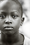 Portrait of young Rwandan boy named Thierry in the Genocide Survivors Village of Rugerero Rwanda.