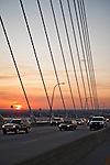 Arthur Ravenel Jr Bridge over the cooper river in Charleston South Carolina during sunset