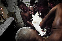 A Cuban man, the Palo religion priest, cuts the throat of a goat during the sacrifice ritual in Santiago de Cuba, Cuba, August 1, 2009. The Palo religion (Las Reglas de Congo) belongs to the group of syncretic religions which developed in Cuba amongst the black slaves, originally brought from Congo during the colonial period. Palo, having its roots in spiritual concepts of the indigenous people in Africa, worships the spirits and natural powers but can often give them faces and names known from the Christian dogma. Although there have been strong religious restrictions during the decades of the Cuban Revolution, the majority of Cubans still consult their problems with practitioners of some Afro Cuban religion.